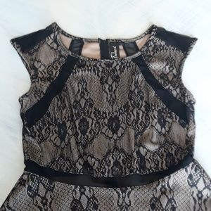 Trixxi black and taupe lace vintage style dress